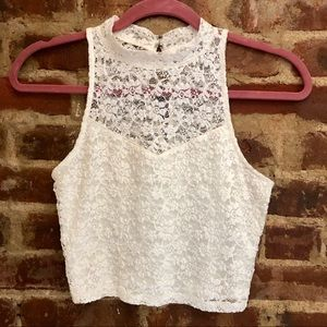 Abercrombie white lace crop top size S